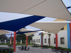 Image of shade sails over picnic tables